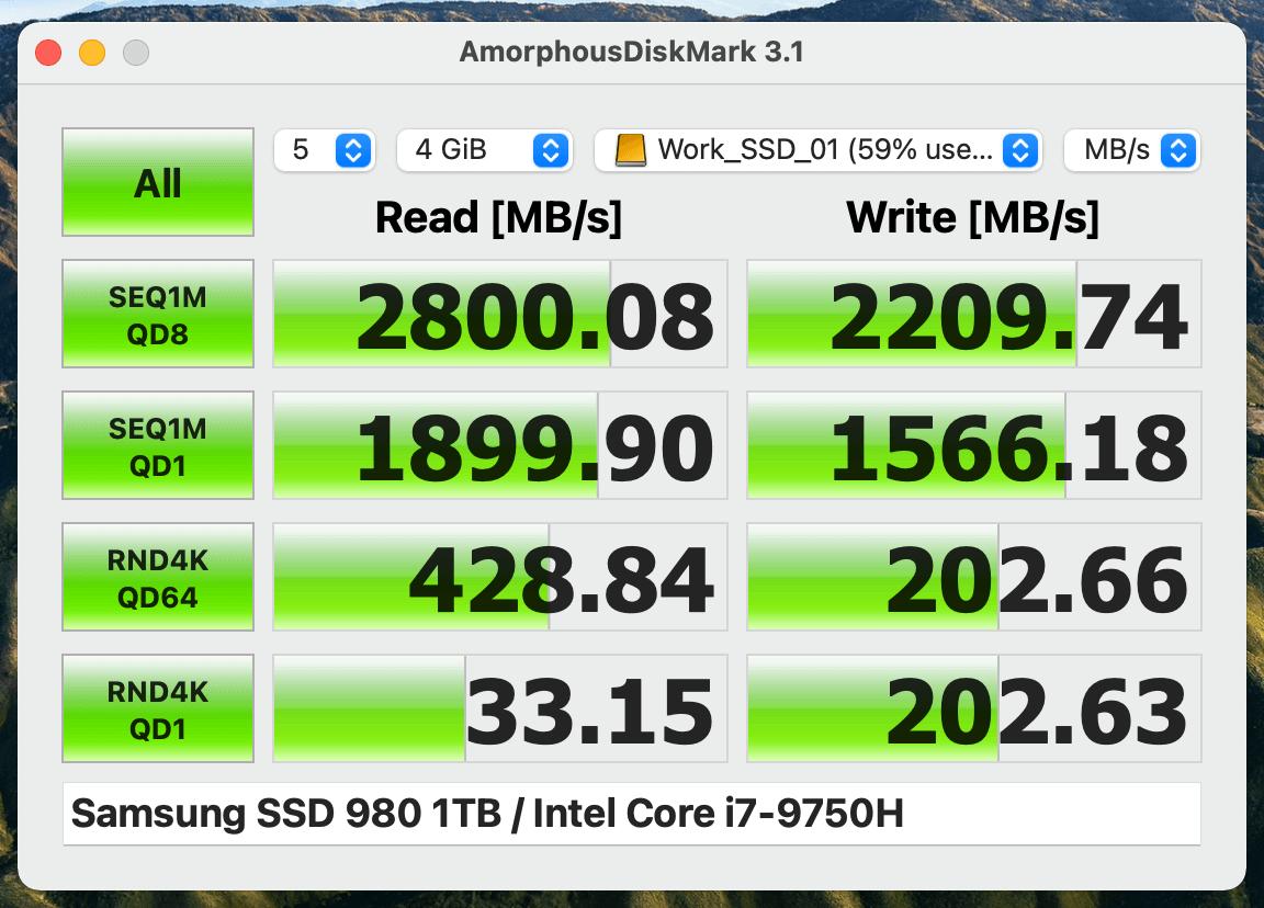 『SAMSUNG SSD 980 MZ-V8V1T0B』のベンチマーク結果