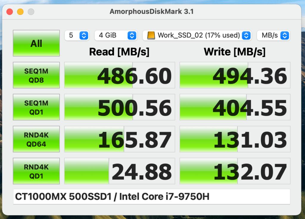 『Crucial SSD MX500(1TB)』のベンチマーク結果