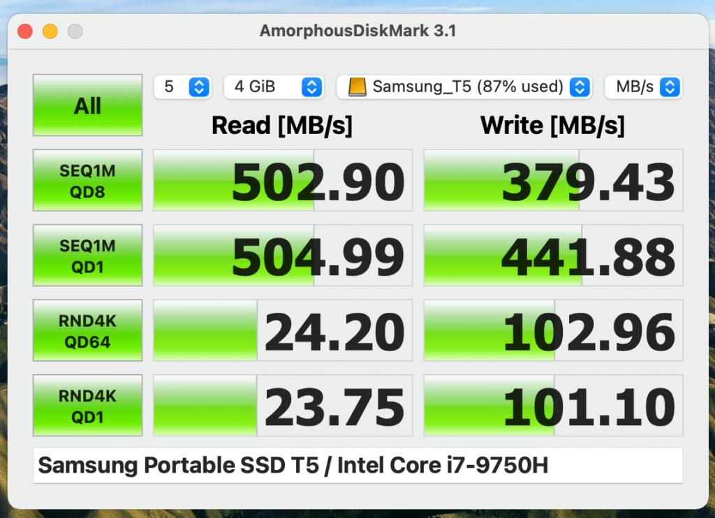 『Samsung 外付けSSD T5 1TB』のベンチマーク結果